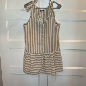 Stripe dress in white / tan
